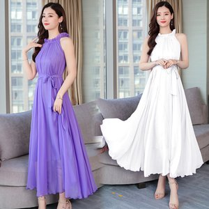 Dresses Long Super Fairy Thai Beach Skirt Women's Summer Seaside Holiday Chiffon Large Size Slim Suspender Dress
