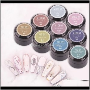 Gel 9 Color Art Metal Painted Potherapy Glue Gold Sier Brushed Gluegel Nail Polish 8Ml 0Tupc Coved