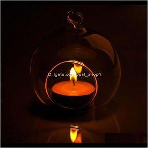 Holders Décor & Garden Drop Delivery 2021 1Pc 60Mm Hanging Tealight Glass Globes Terrarium Wedding Candle Holder Candlestick Vase Home El Bar