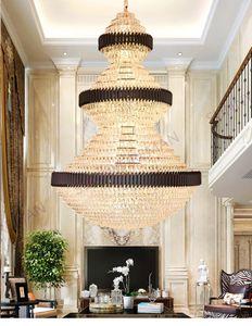 Post Modern Luxury LED Crystal Large Pendant Light Lamps For Villa Staircases Model Room Chandelier Duplex Building Hollow Living Room Hotel Restaurant