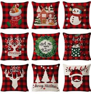 Christmas Pillow Covers Square Decorative Pillow Cushion Cover Linen Sofa Throw Pillow Case Xmas Pillowcase Home Decor 37 Designs BT5737