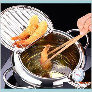 Pans Cookware Kitchen, Dining & Bar Home Garden Lmetjma Japanese Deep Frying Pot With A And Lid 304 Stainless Steel Kitchen Tempura Fr