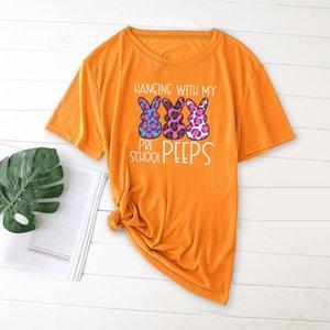 Easter Printing Ladies T-shirt Casual Basis O-collar Shirt Short Sleeve 2021 Femme Loose Women's