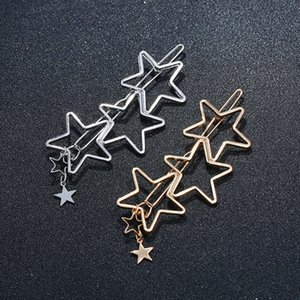 Hairpin Sales simple fashion tassel hollow five pointed star top edge clip stars