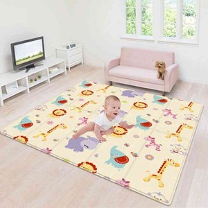 180*100CM Children's mat Foldable Toys Cartoon Baby Play Mat Double-sided Baby Climbing Pad Kids Rug Waterproof Games Mats Gift 210401