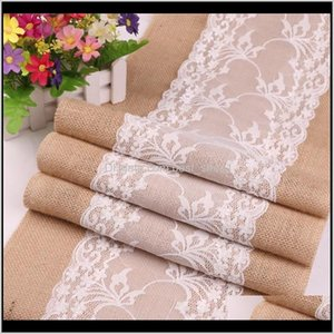 Cloths Textiles Home Garden Drop Delivery 2021 Linen Tablecloth Burlap Lace Hessian Table Runner Christmas Process Wedding Decorative Tablecl