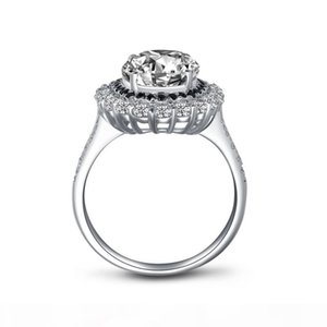 AINOUSHI 925 Sterling Silver Engagement Ring for Women Big Halo 4.5 Carats Oval Cut Ring Lover Gift anillos plata 925 para mujer Y200106