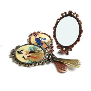 Hand-held Makeup Mirrors Romantic Vintage Hand Hold Mirror Oval Cosmetic Hands Held Tool With Handle For Women OWE9427