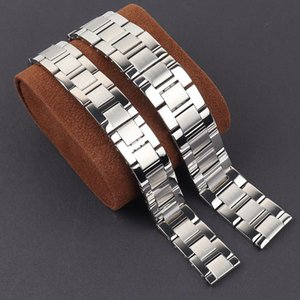 Steel Watch Band For Tanke Men's Caliber 16 17.5mm 20 23mm Stainless Watchband Butterfly Buckle Wristband Silver Bracelet Bands