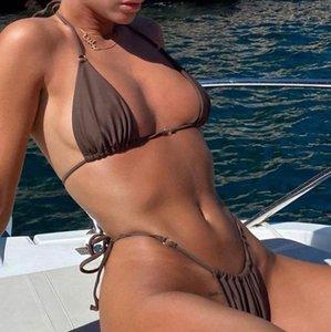 Yiiciovy sexy brasileño 2021 traje de baño mujeres verano halter de encaje empuje hacia arriba sujetador acolchado micro bikini conjunto de dos piezas conjunto de ropa de playa