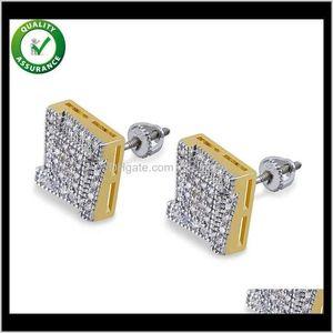 Stick Luxury Designer Brand Hip Hop Jewelry Men Diamond Stud Earrings Iced Out Cubic Zirconia Pandora Style Charms Gold 1Tvlp 28Wlj
