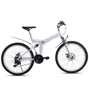 High Carbon Steel Frame Folding Bike Bicycle Front And Rear Mechanical DIsc Brake Bilateral Pedal 7 Levelrear Derailleur Bikes