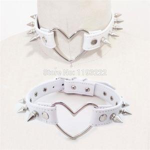Cute Kawaii Sexy Handmade Harajuku Heart Choker, Big Leather Necklace, Punk Rock Goth Studded Spikes Collar Jewelry Chokers