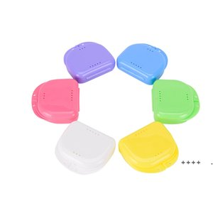 Compact Colorful Dental Orthodontic Retainer Box Case Mouthguards False Teeth Dentures Sport Guard Storage Box FWF6195