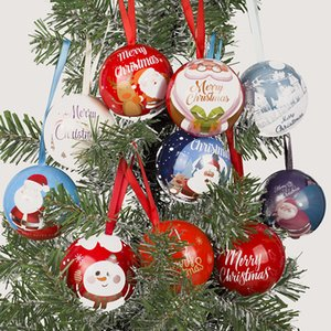 Christmas Tree Pendant Ornaments Round Elf Ball Decoration Cartoon Mini Candy Box Hanging Pendants Ornament Party Supplies GWB10209