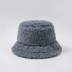 Ladies Thicken Lamb Faux Fur Bucket Hat Warm Teddy Velvet Winter Hats For Women Lady Solid Color Outdoor Plush Fisherman Hat 291 Q2