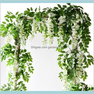 Faux Floral & Greenery Home Accents Décor Garden 2M Artificial Wisteria Flower String Garland Wedding Arch Decoration Fake Plants Foli