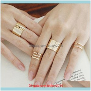 Solitaire Ring Jewelry3 Pcs Set Women Fashion Midi Tip Finger Knuckle Open Rings Jewelry Charms Xmas Anillos Mujer Bagues Pour Femme Drop De