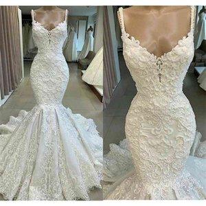 2021 Luxury Mermaid Wedding Dresses Sweep Train Spaghetti Beaded Lace Beach Wedding Dress Custom Made Long Robe De Mariee