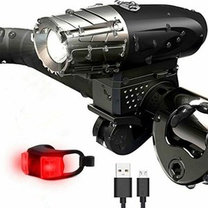 Rechargeable 360° Rotated Bicycle Energy LED Headlight Waterproof USB-Recharge Bike Front Light Rotating Mount #40 Lights