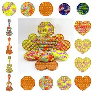 DHL Push Pop it Bubble Sensory Fidget Toy Tie Dye Autism Squishy Stress Reliever Toys Adult Kid Pop it Fidget Toys Wholesale 910 R2