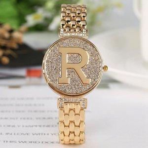 Letter R Crystal Diamond Unique Flip Cover Quartz Watch Fashion Bling Casual Ladies Bracelet Golden Feminino Relogio Wristwatches