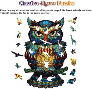 Owl Wooden Jigsaw 100 Pieces - Colorful Animal-Shaped Puzzle Wood, Waterproof Unique Family Game Problem-Solving Challenge Activity for Adults, Children