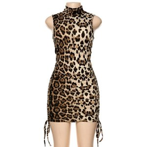 Short Sleeveless High Sexy Dress Ladies Collar Leopard Cheetah Print bodycon Slim Flapper Night Club Party Hot