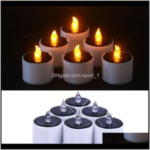 Décor Home Garden Drop Delivery 2021 6 Pieceslot Yellow Flicker Power Light Candles Flameless Electronic Led Nightlight Solar Energy Candle G