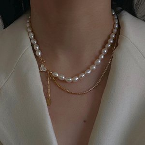 Diamond Inlaid Love Pearl Necklace Korean East Gate Simple Temperament Net Red Clavicle Chain Personality Pendant