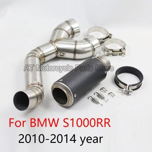 Motorcycle Full System Exhaust Modified Middle Steel Carbon Fiber Pipe With Muffler Slip On For S1000RR 2010 12 13 14 Years