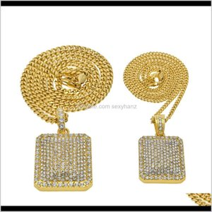 Necklaces Mens Hiphop Ruthless Goods Blingbling Diamond Pendant Heavy Industry Full Drill Military Necklace 2Msii P9Th7