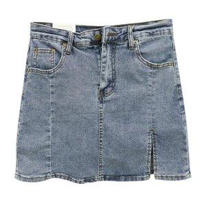 Star Same Style Short Denim Skirt Women's Summer Sexy Mini Fashion A-line Jeans Girl Bag Hip Split Skirts