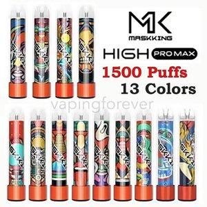 Masking Yüksek Pro Max Tek Kullanımlık Vape Cihazı Elektronik Sigaralar Marş Seti 1500 Puffs 4.5ml Kartuş Kullanıma Hazır Şeffaf Ağızlık Bang XXL