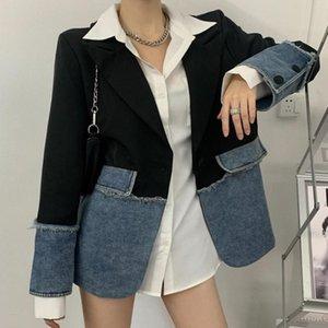 Women Denim Jacket Blazers 2021 Spring New Patchwork Notched Plaid Blazer Office Lady Elegance Full Sleeve Jacket Stylish Outerwear C0N101T