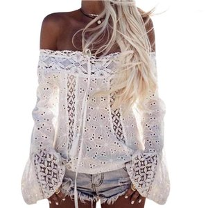2020 New Women T-Shirts Casual Sexy Off Shoulder Tops Tees Long Sleeve Lace Loose Solid Fashion Tops T-Shirt Female Camiseta1
