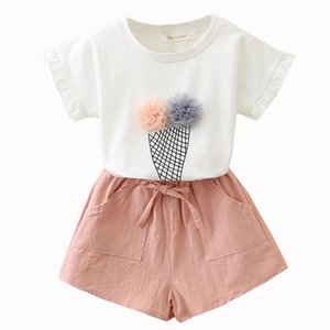 Baby girl outfit summer sets Ice cream printed T-shirt + Shorts Girls' suit 2pcs clothing cotton soft material