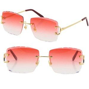 Venta al por mayor Venta de mujeres o hombre C Decoración Marco de alambre Gafas de sol Rimless UV400 Lente tallada Hombres Gafas al aire libre Summer Viaje al aire libre