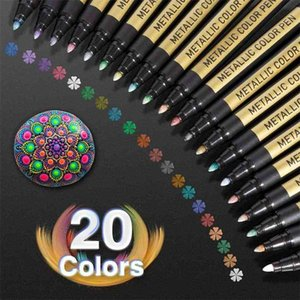 10 20 Color Metallic Paint Marker Pen Permanent Writing Rock Painting Po Album Scrapbook Glass Wood Canvas Card Art marker 210902