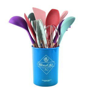 Cooking Set Wooden Non Handle Stick Spatula Spoon with Kitchenware Storage Barrel 12 Pieces of Silicone OOD5954