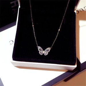 Ins Top Sell Butterfly Pendant Luxury Jewelry 925 Sterling Silver Rode Gold Fill Pave White Sapphire CZ Diamond Gemstones Party Eternity Clavicel Necklace Gift
