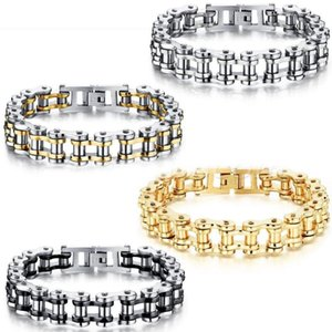 Fashion Polished Stainless Steel Bike Bicycle Chain Bracelet For Men Women, 13MM Width, 21.5cm Length 4 Style Link,