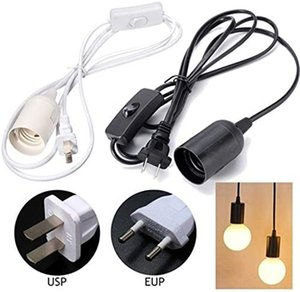 E27 Light Sockets Lamp Holders 1.8m 5.9FT Extension Cord with On Off Switch and US EU Plug Hanging Lights Socket for Pendant Lighting Bulb Lamps