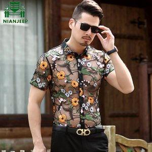 Embroidery Men Transparent Shirt men Puls size Sexy Lace Shirt For Male See Through Mesh Club Party Prom Chemise Homme
