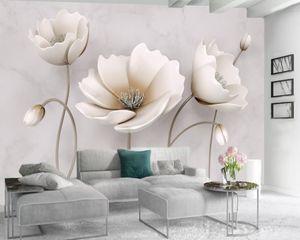 Personalizado Cualquier tamaño 3D Mural Wallpaper 3D Nordic Elegant Flower Mármol de mármol Decoración para el hogar Sala de estar Cubierta de pared