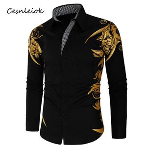 Men's Casual Shirts 2021 Spring Autumn Features Men Gold Shirt Arrival Long Sleeve Slim Fit Male