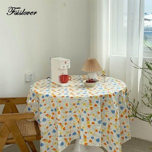 Table Cloth FSISLOVER Deco Ins Tulip Cotton Tablecloth Pography Backdrops Dining Cover Korea Chic Picnic