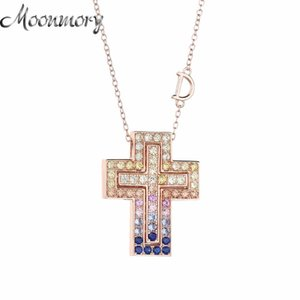 Belle Epoque 925 Sterling Silver Double Cross Pendant Necklace Letter D Rose Gold Cross Necklace With Colorful Stone 210412