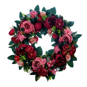 HOT Artificial Peony Flower Wreath for Front Door Farmhouse Welcome Door Wall Window Wedding Birthday Party Home Decor 1260 V2