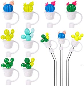 Creative Silicone Straw Tips Cover Reusable Drinking Dust Cap Splash Proof Plugs Lids Anti-dust Tip for 7-8 mm Straws BWE6320